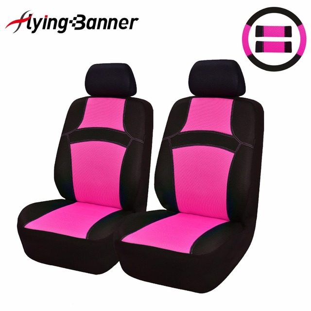 Flying Banner Rainbow2Front Car Seat Cover Cute Mint Green/Purple Full Set Universal Seat Cover High Quality With Streeing Wheel