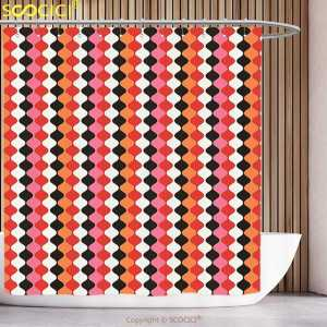 Shower-Curtain Curved-Stripes Waterproof Graphic Retro Brackets Bands Tied-Disc Linked