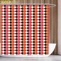 Waterproof Shower Curtain Retro Curved Stripes Brackets Linked Chain Shaped Bands Tied Disc Circles Artful Graphic Multicolor