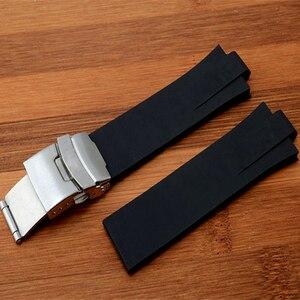 Image 3 - Marca 24mm x 11mm preto de alta qualidade silicone borracha pulseira relógio à prova dwaterproof água dobrável fivela aquis pulseira para oris