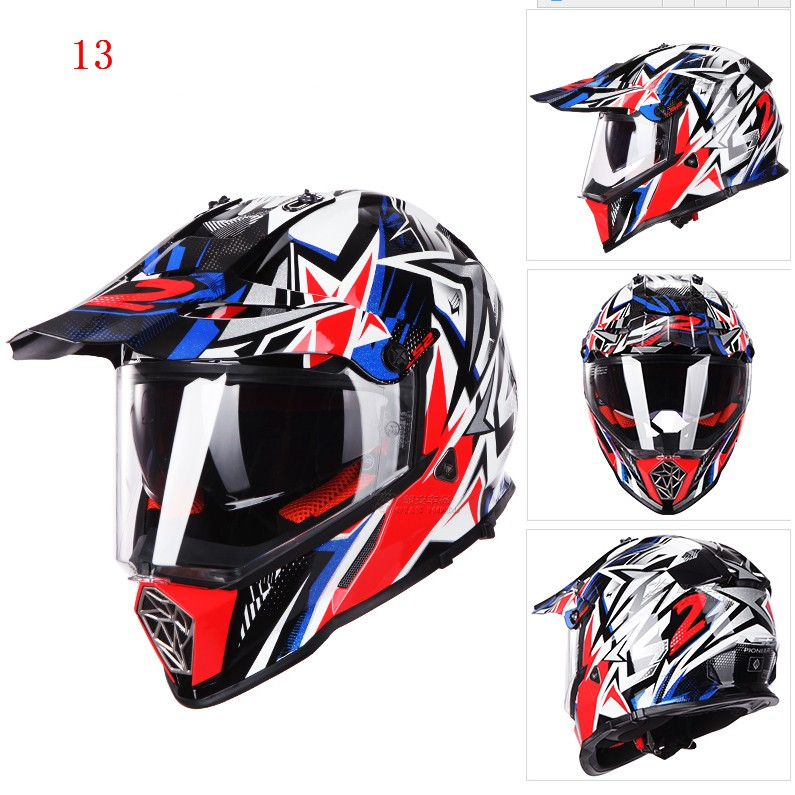 Ls2 mx436 pionnier moto casque avec pare soleil atv - Casque moto course ...