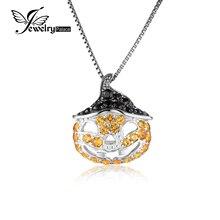 JewelryPalace Calabaza De Halloween 1.7ct Creado Zafiro Amarillo Genuino Negro Espinela Colgante 925 Joyería de Plata Esterlina