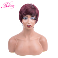 Brazilian Bob Wig Short Human Hair Wigs For Black Women Non Remy Straight Hair Wig 99j Human Hair Wig for free shipping