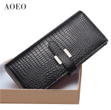 AOEO wallet female genuine leather slim purse for women long and short Ladies handy purses handbag womens wallets