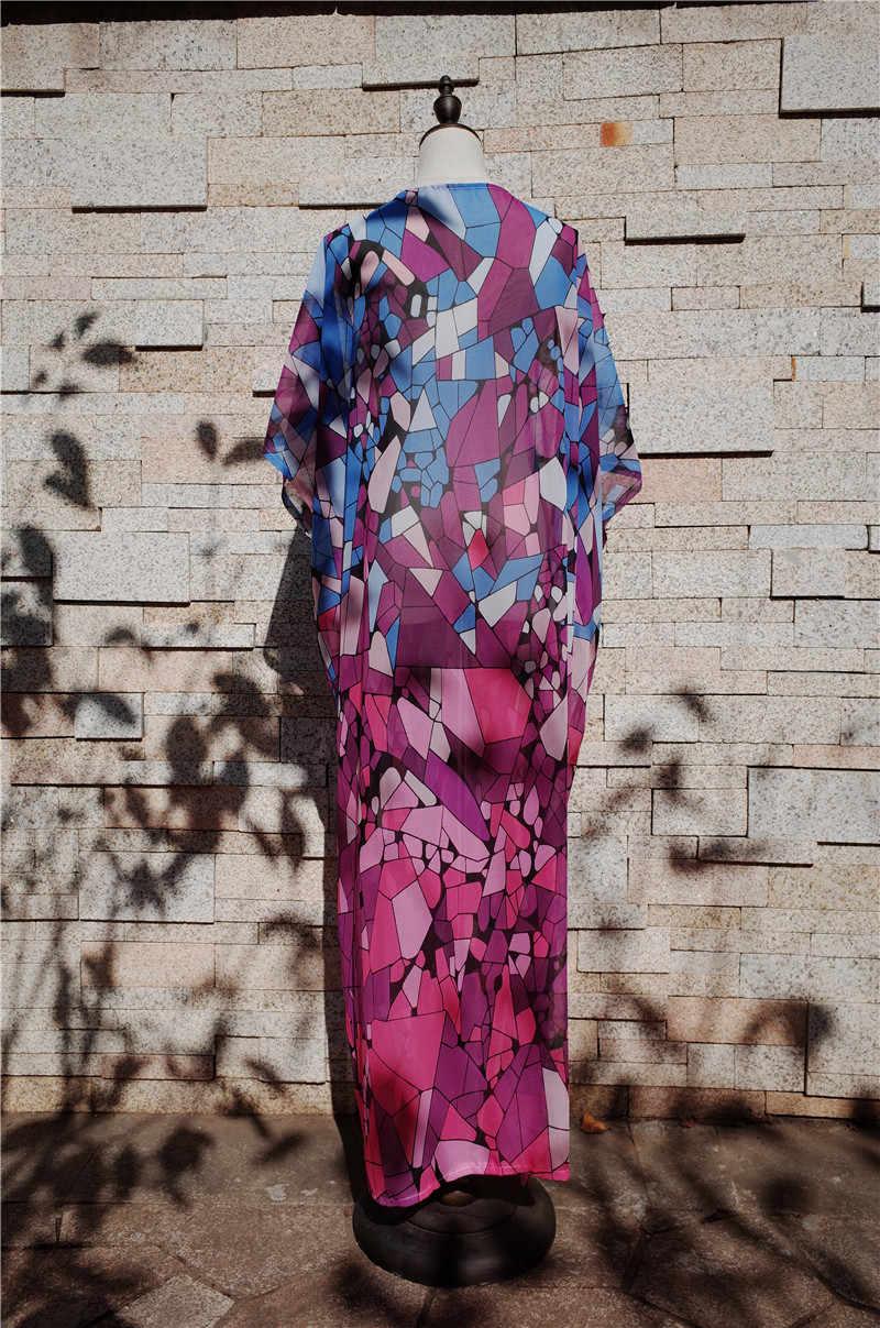 2c858868e9 ... Purple Bohemian Printed Mid-Calf Length Women Summer Beach Wear Kimono  Cardigan Plus Size Top ...