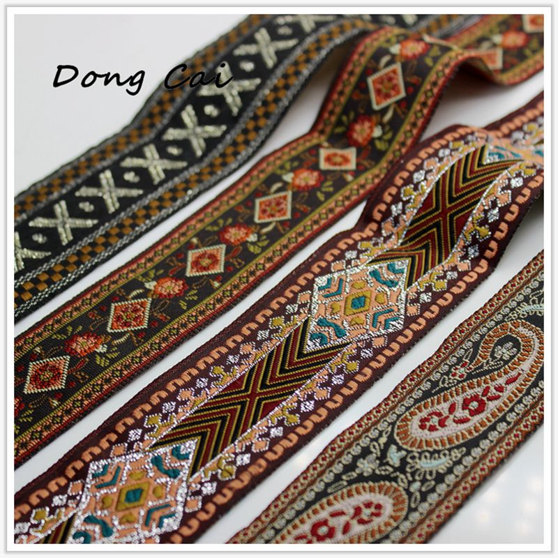 25mm brown paisley jacquard embroidered ribbon lace applique trimming decor