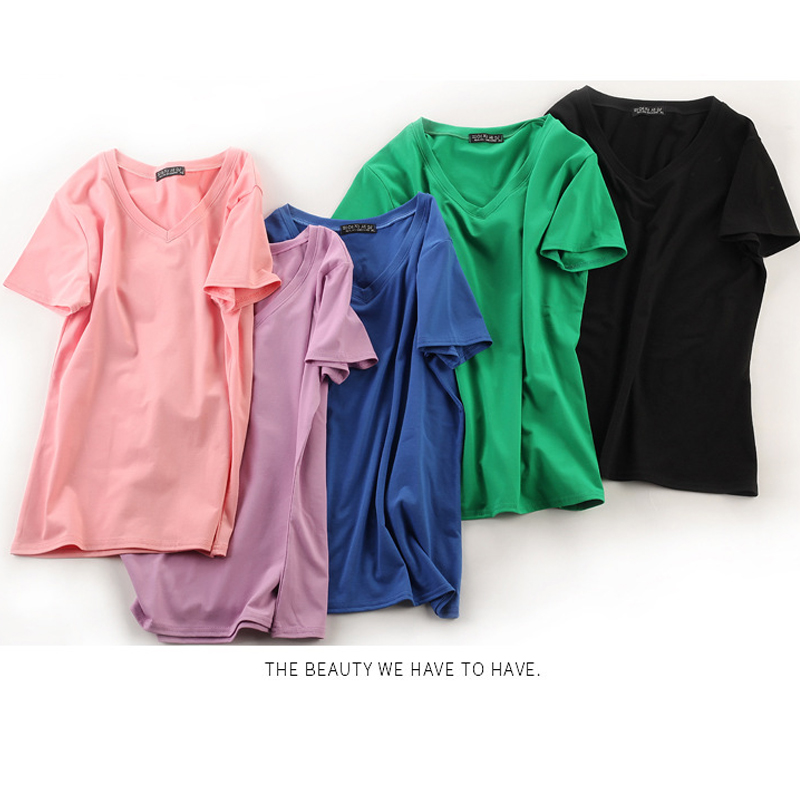 Summer Women Cotton T Shirt Women Casual Loose Streetwear Short Sleeve T shirt V Neck Women Female Tops Plus Size M 3XL in T Shirts from Women 39 s Clothing