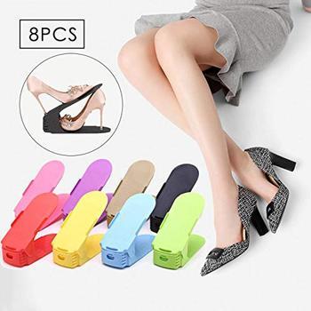 8 pcs Duplo Sapato Sapatos de Rack De Armazenamento de Plástico Organizador de Sapato Limpeza Modernos Vivendo Organizadores Sapatos Slotz Slot Stand Prateleira de Rack