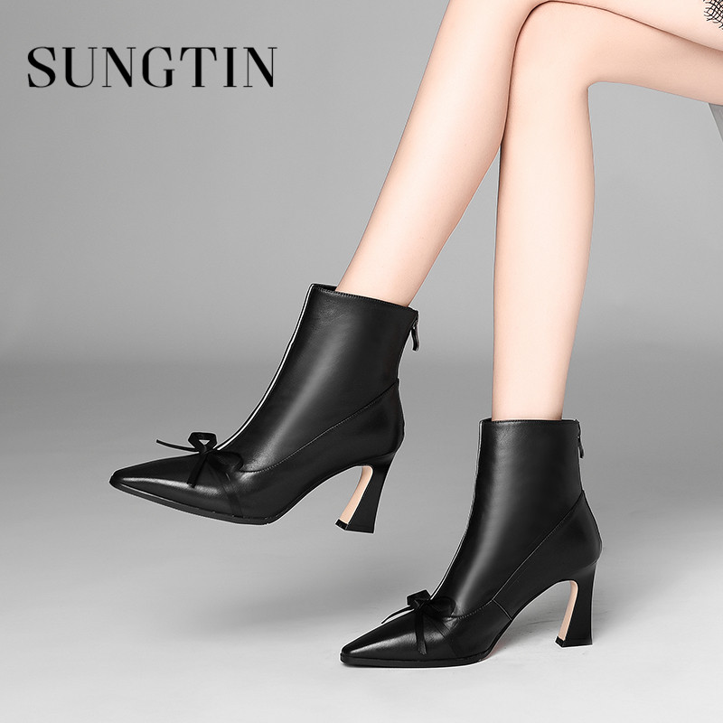 Sungtin Fashion Party Genuine Leather Short Boots Bow Classic Black Women High Heel Ankle Boots Ladies Winter Plush Warm Booties цена 2017