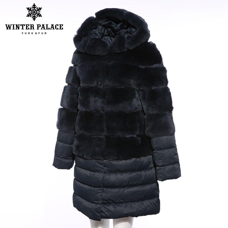 Manteau Rex Solide Fourrure blue 1 Élevé Lapin 2018 Grade brown Mode Blue À Doudoune Décontracté De D'hiver Couture Long pink w85tf7
