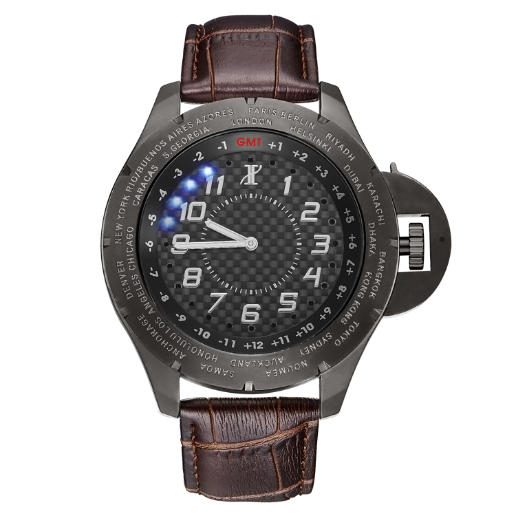 2015 New Technology True World Time 24 Time Zone Carbon Fiber Wrist Watches for Russian , USA , EU and Global Business Man