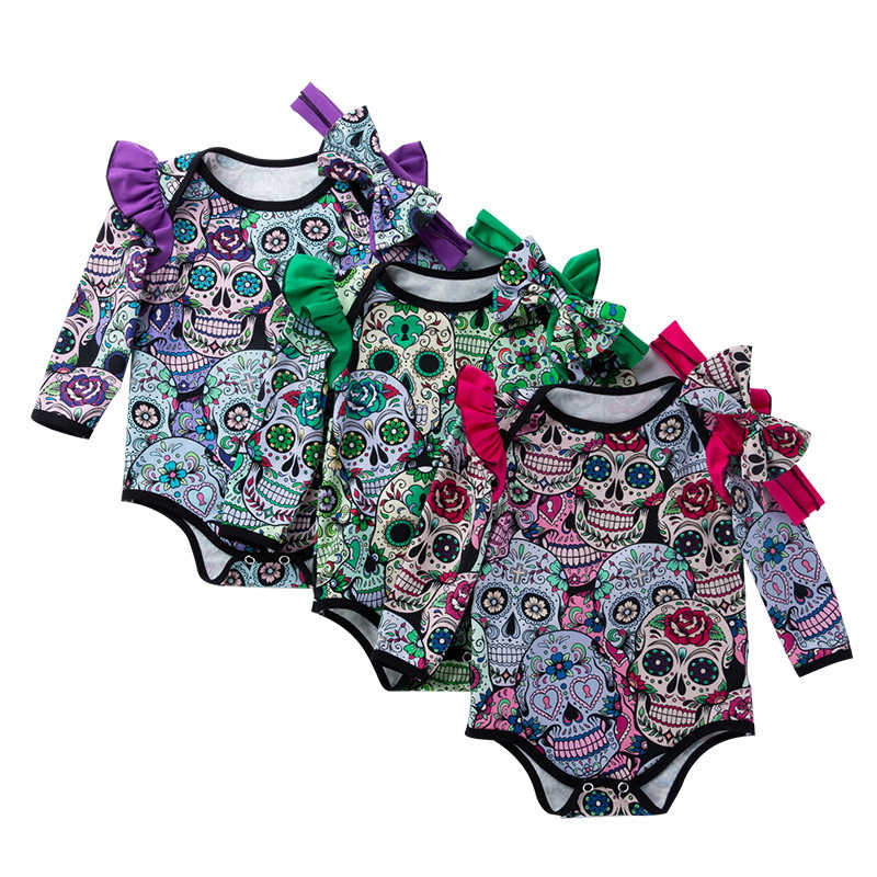 c288a4487e93 2pcs Newborn Baby Boys Girls Skull Romper+headhand Halloween Outfit Set  Infant cotton skeleton pattern