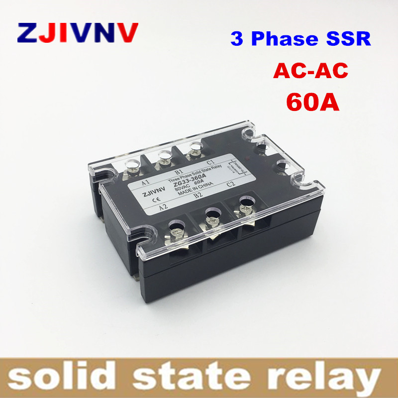 Three phase solid state relay AC-AC 60A 3 PHASE SSR 60AA 70-280VAC Control 90-480vac ac solid state relay ZG33-360A free shipping high quality tsr 60aa 60a three phase 70 280vac to 380vac ac ac 3 phase ssr solid state relay