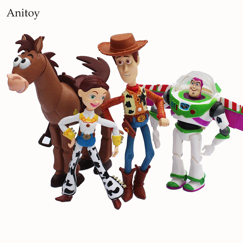 4pcs/set Anime Toy Story 3 Buzz Lightyear Woody Jessie PVC Action Figure Collectible Model Toy Kids Gifts 14.5-18cm KT443 4pcs set anime toy story 3 buzz lightyear woody jessie pvc action figure collectible model toy kids gifts 14 5 18cm zy468