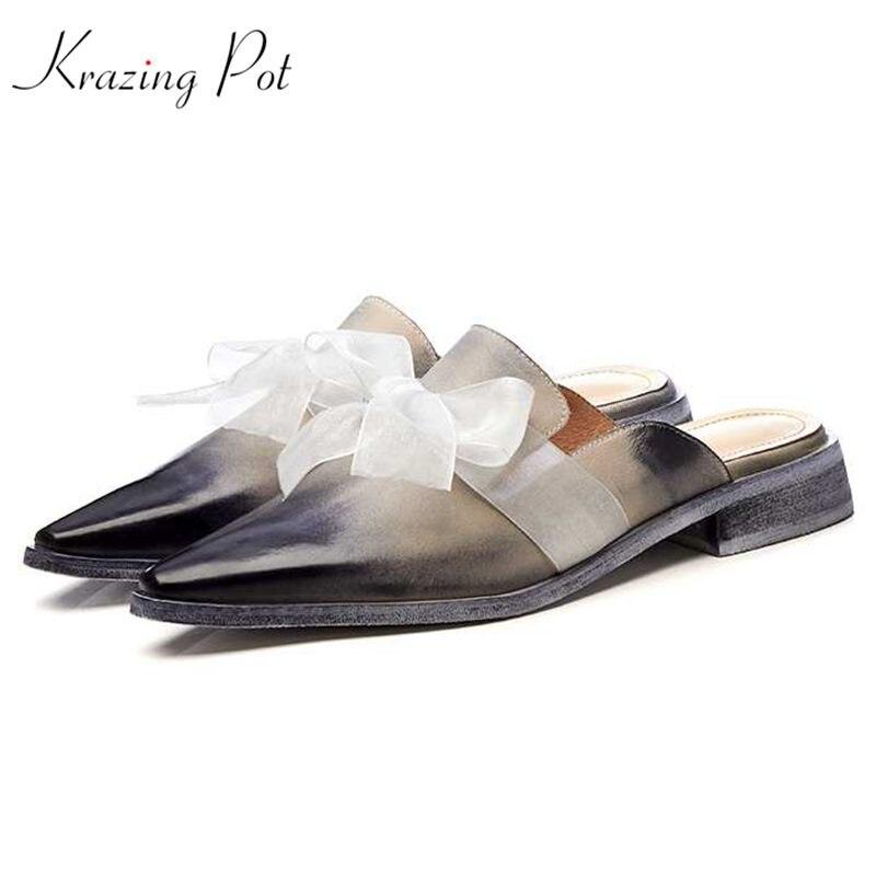 Krazing Pot new full grain leather design streetwear air mesh butterfly-knot mules pointed toe low heels fashion women pumps L73 цена 2017
