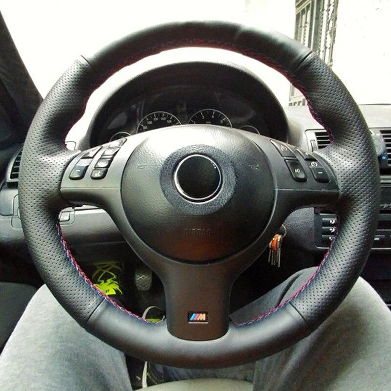 Peau de vache Couche Supérieure En Cuir À Coudre À la main de roue couvre protéger Pour BMW E46 E39 330i 540i 525i 530i 330Ci M3