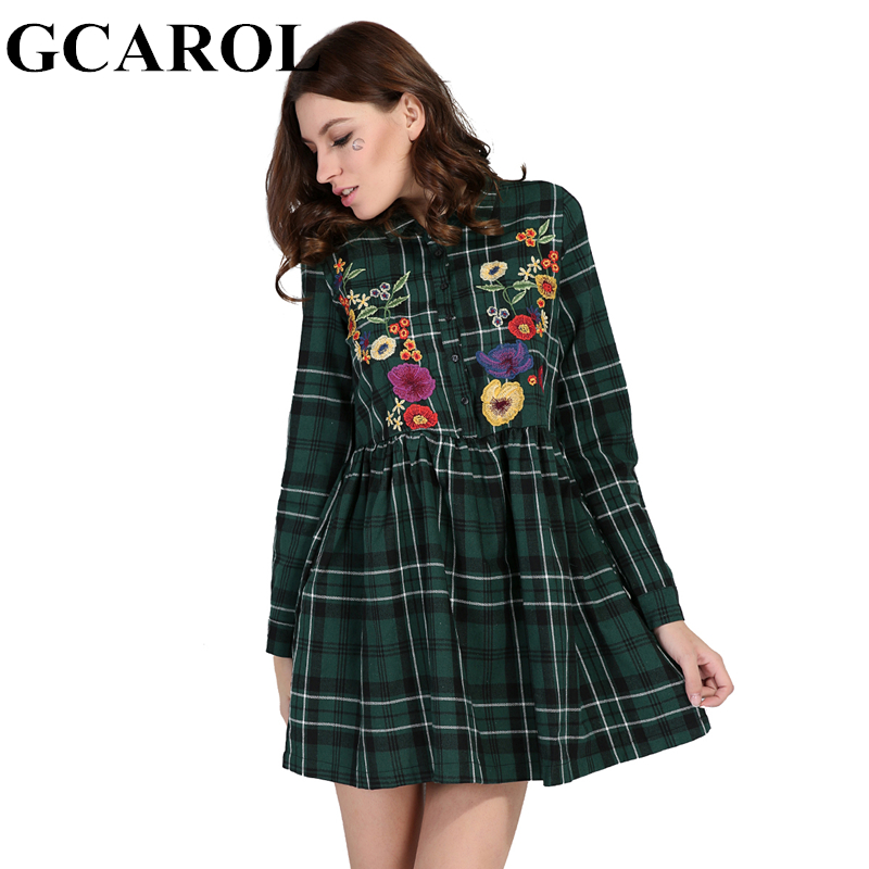 GCAROL 2018 Early Spring British Style Women Embroidery Floral Plaid Dress High Waist Vintage Green Mini Dress Female Dress