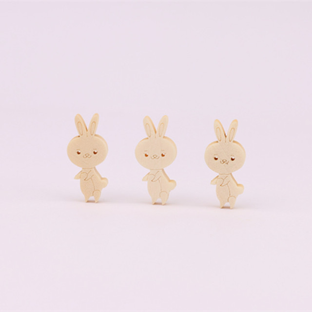 Cute Thing Cartoon Rabbit Wooden Buttons Girls Kids Inventive Sewing