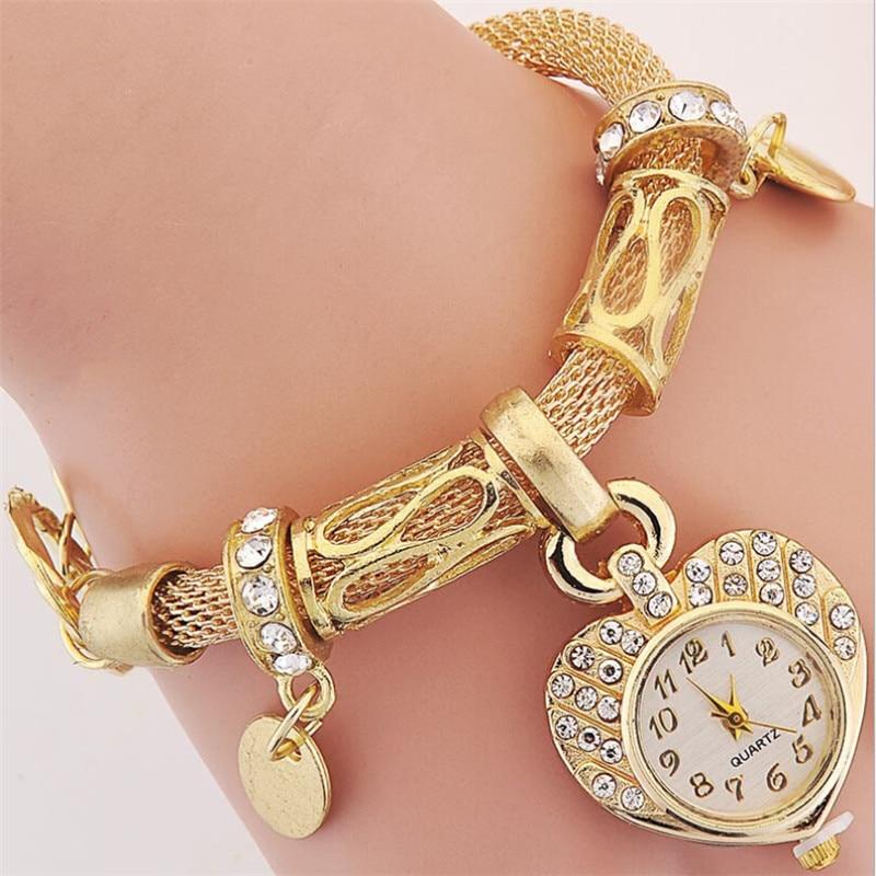 2017 Fashion Luxury Women Gold Plated Chain Watches Bracelet Wristwatches Pendant Quartz Lady Watch