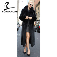 FURSARCAR 2018 New Real Mink Fur Coat Women With Long Fox Collar Luxury Black Jacket Winter Natural