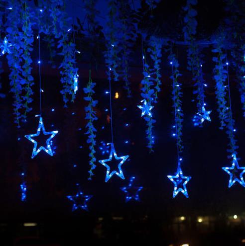 led glow lichtgevende ster string gordijn verlichting gordijn party bruiloft kerst raam deur hanger lamp fairy