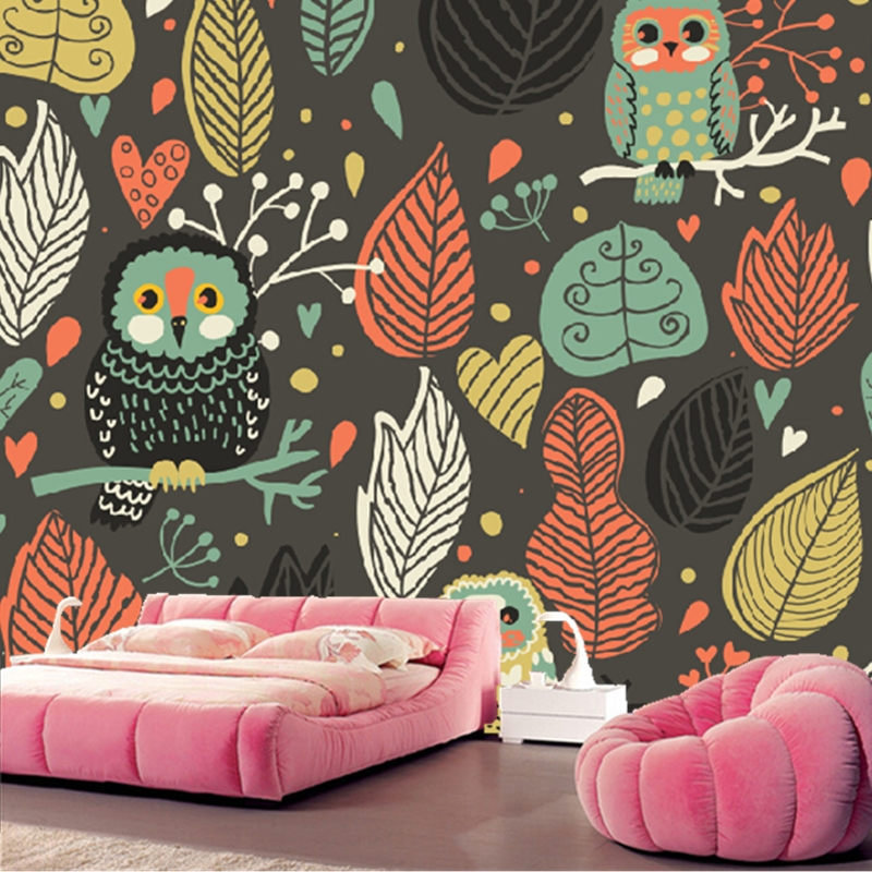 Custom papel DE parede infantil.3d cartoon owl pattern murals for children room sitting room bedroom wall waterproof wallpaper custom children wallpaper multicolored crayons 3d cartoon mural for living room bedroom hotel backdrop vinyl papel de parede