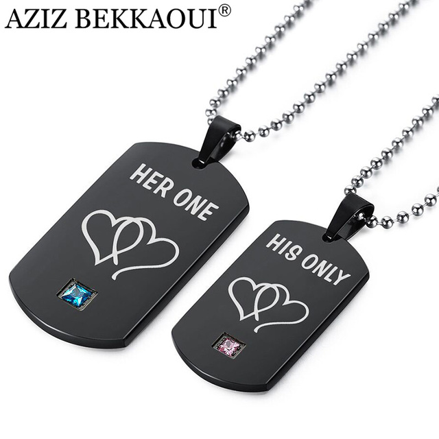 d4c05c6105 AZIZ BEKKAOUI Her One & His Only Couple Necklaces Black Stainless Steel  Heart Tag Pendant Necklace