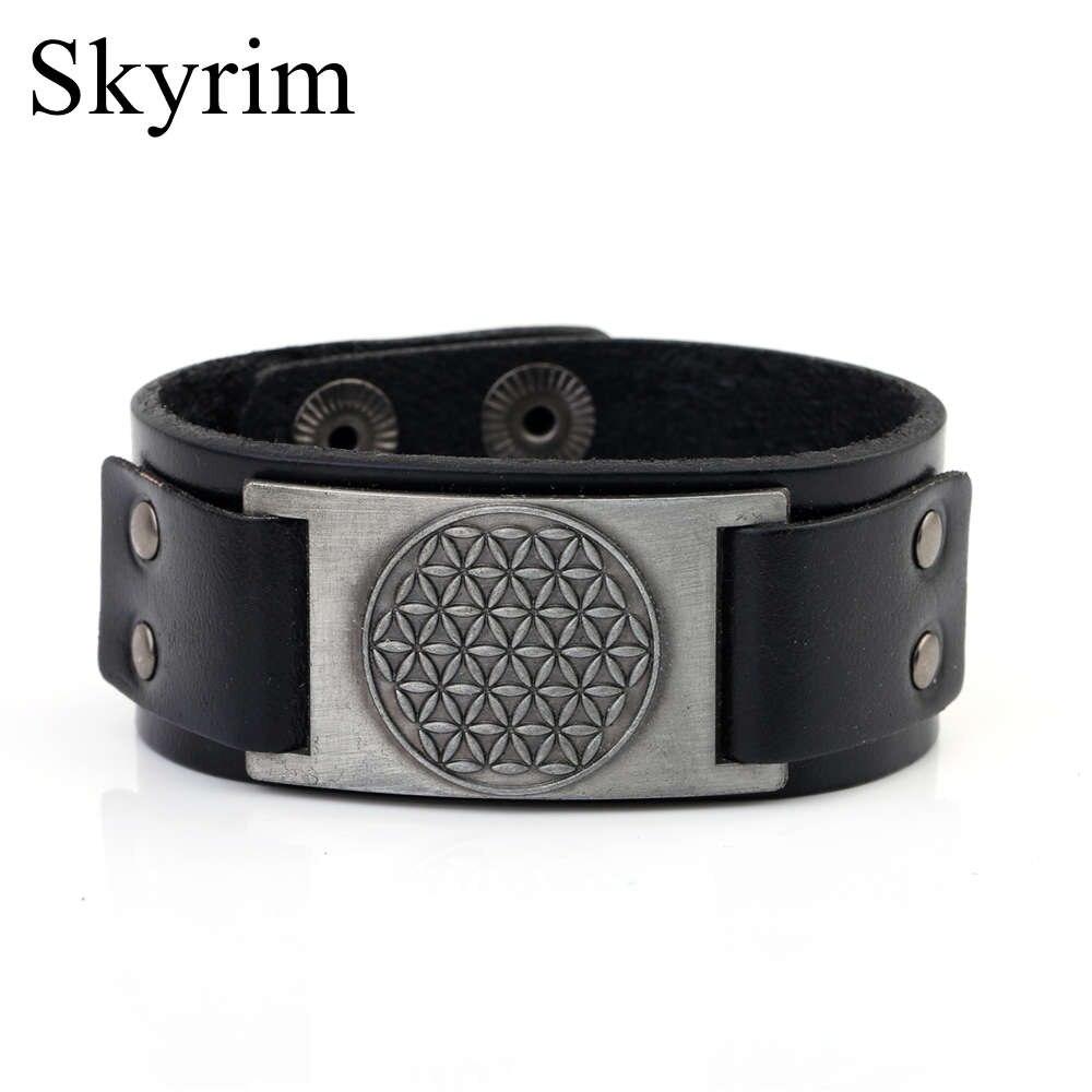 Skyrim 3Pcs/lot Vintage Copper Flower of Life Charm Bracelet Religious Slavic Cuff Wristband Leather Bracelet for Men and Women
