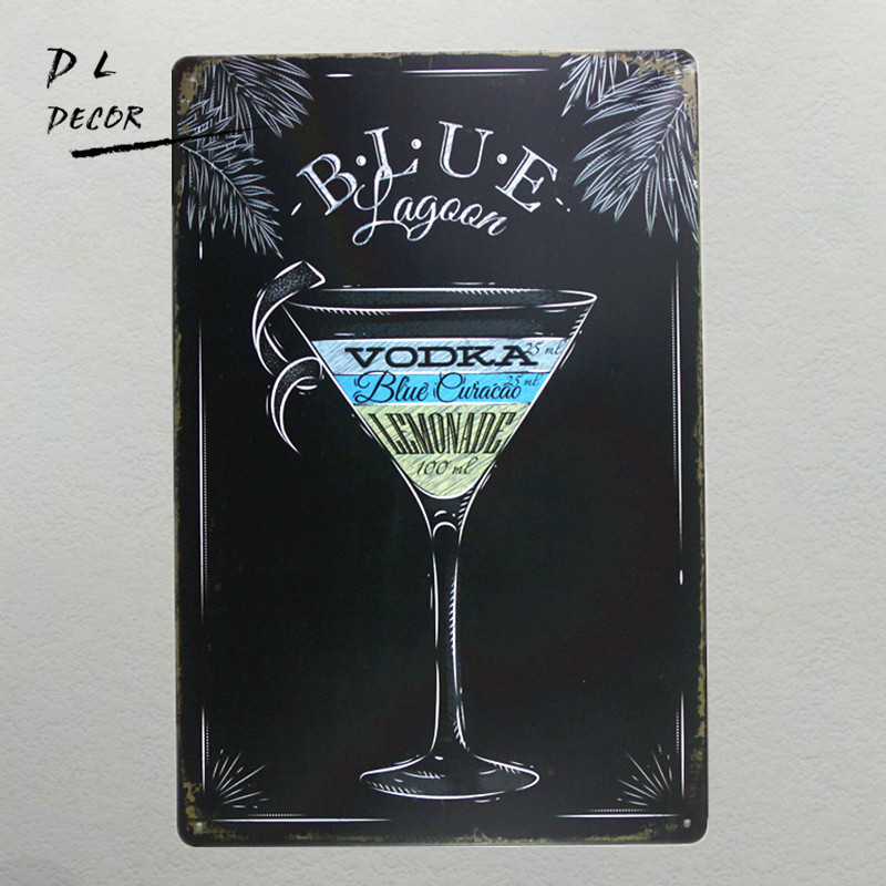 DL-BLUE VODKA Pub signs SHOP STICKER Cheap Tin sign HOT iron paintings Bar wall decoration