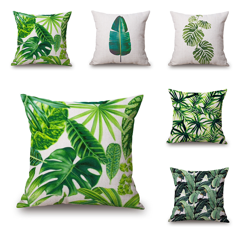 new green tropical plant tree leaves pillow cover fresh. Black Bedroom Furniture Sets. Home Design Ideas