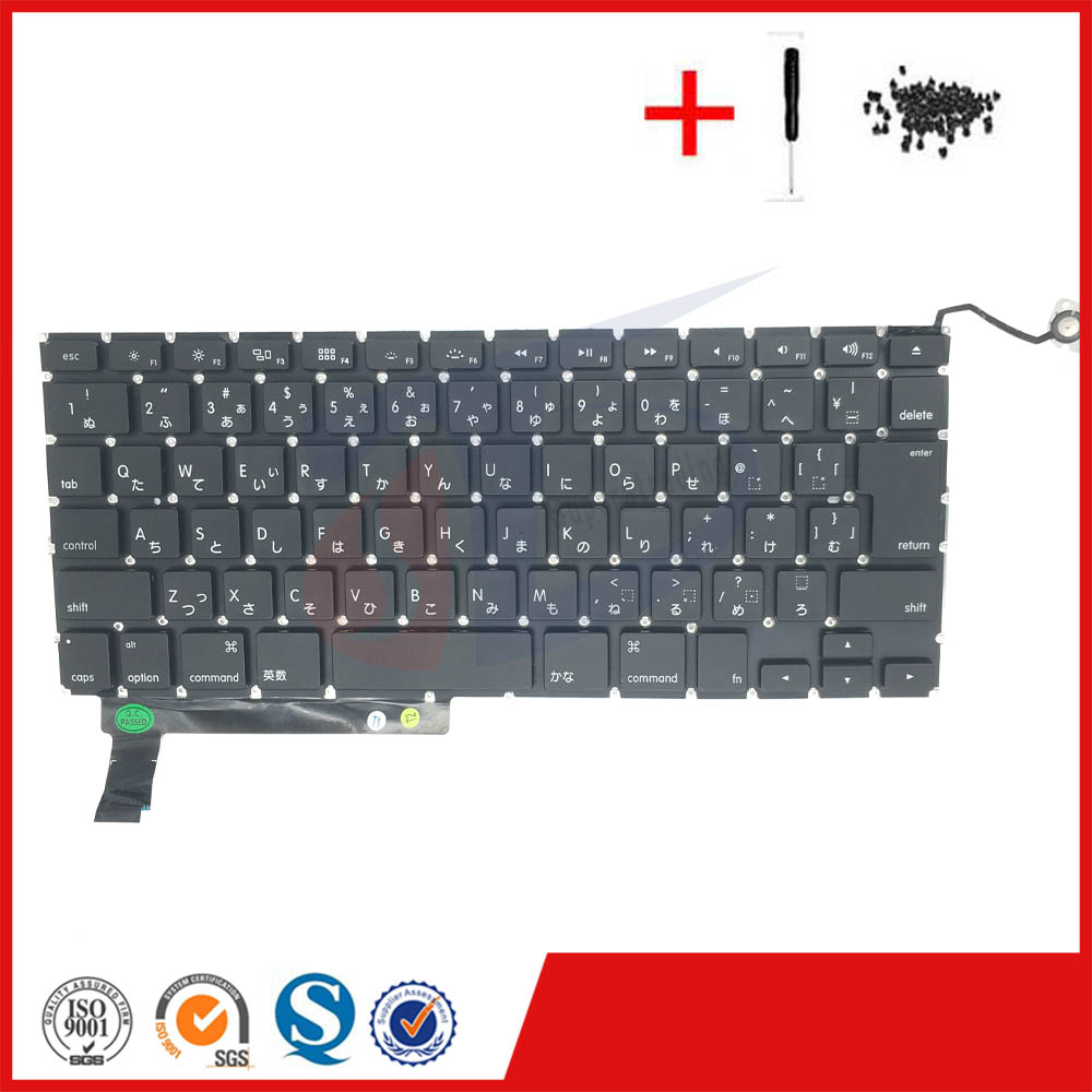 USED Japanese <font><b>keyboard</b></font> for <font><b>macbook</b></font> pro 15inch <font><b>A1286</b></font> JP Japan Japanese <font><b>keyboard</b></font> <font><b>replacement</b></font> with backlight 2009-2012year image