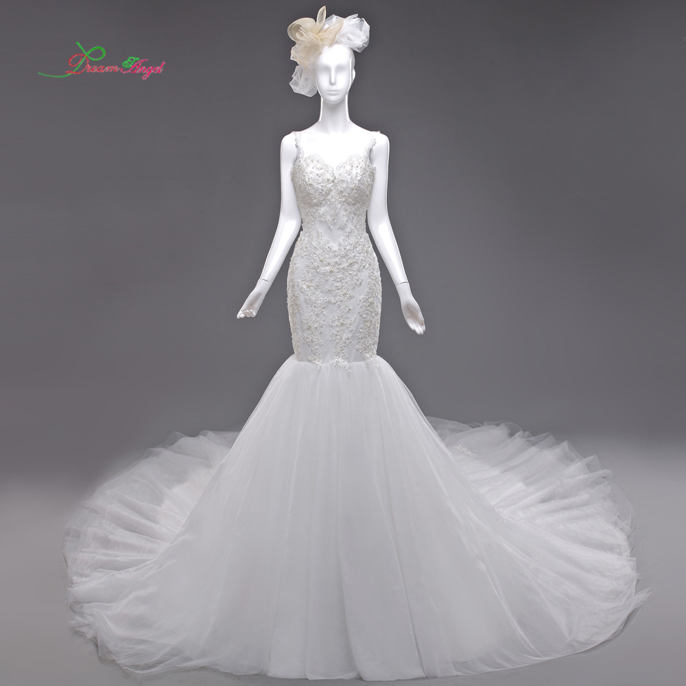 Dream Angel Vestido De Noiva Sweetheart Mermaid Wedding Dresses 2017 Sexy Backless Appliques Beaded China Bridal Gown Plus Size