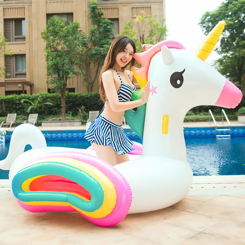 220CM Giant Unicorn Pool Float Inflatable Colored Pegasus Mattress Ride on Swimming Ring Party Fun Water Toy For Children Adult