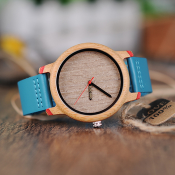 BOBO BIRD Minimalist Unisex Wood Watch With Leather Band