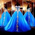 Azul Lindo Vestidos Quinceanera Masquerade Ball Vestidos de Gala Querida Tulle Apliques de Renda Moda Doce 16 Prom Party Vestido
