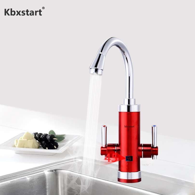 Kbxstart 3400W Instant Tankless Water Heater Faucet 220V Fast Heating Hot Water Tap With Duel Handle