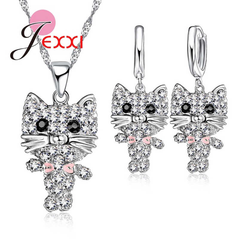 Big Promotion Pink Bowknot Cute Cat Jewlery Sets Clear Crystal Pure 925 Sterling Silver Women Chains Necklace Earrings