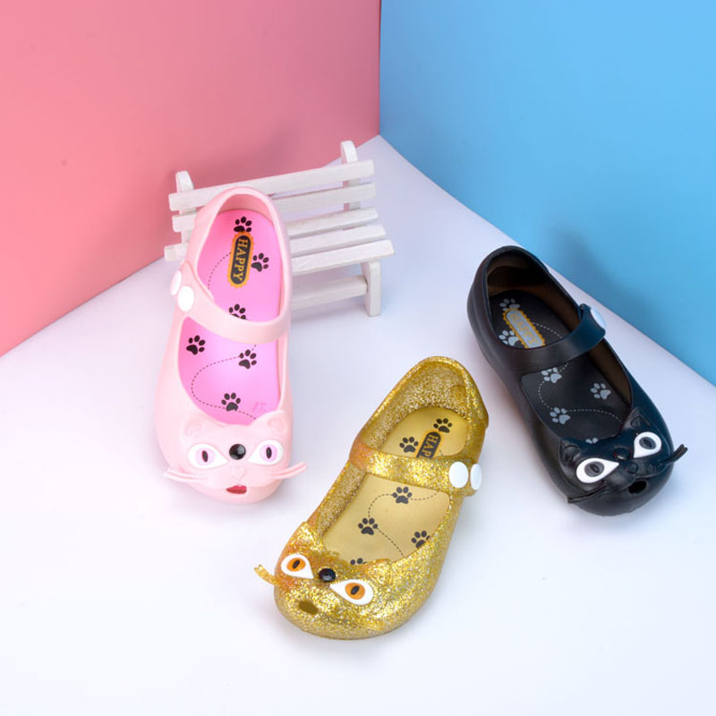 Cats Mini Melissa Jelly Shoes Children Sandals for Girls Rubber Shoes Kids Summer Child Beach Princess Crystal Shoese 2-12Y
