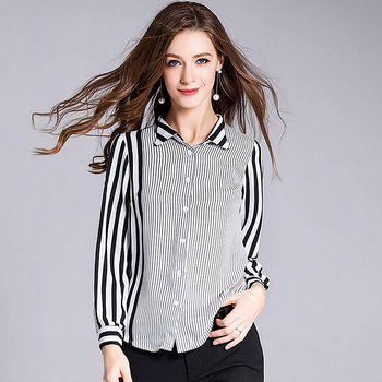 100% Silk Blouse Women Shirt Patchwork Design Striped Turn-down Collar Long Sleeves Office Work Top New Fashion 2018