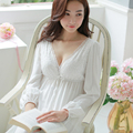 Fres envio primavera e verão Estética princesa camisola sexy lace mulheres camisola de algodão sleepwear salão