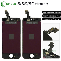 LCD Display Touch Screen Digitizer For IPhone 5S Assembly Complete With Lcd Panel Speaker Small Camera