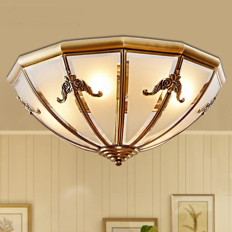 Nordic restaurant creative ceiling lamps glass copper ceiling lamps terrace bedroom copper decorative ceiling light lw525501py-in Ceiling Lights from Lights & Lighting    1
