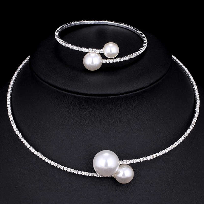 Fashion European Show Celebrity Chokers Brand Simulated Pearl Necklace Bangle Set For Women Wedding Party Jewelry