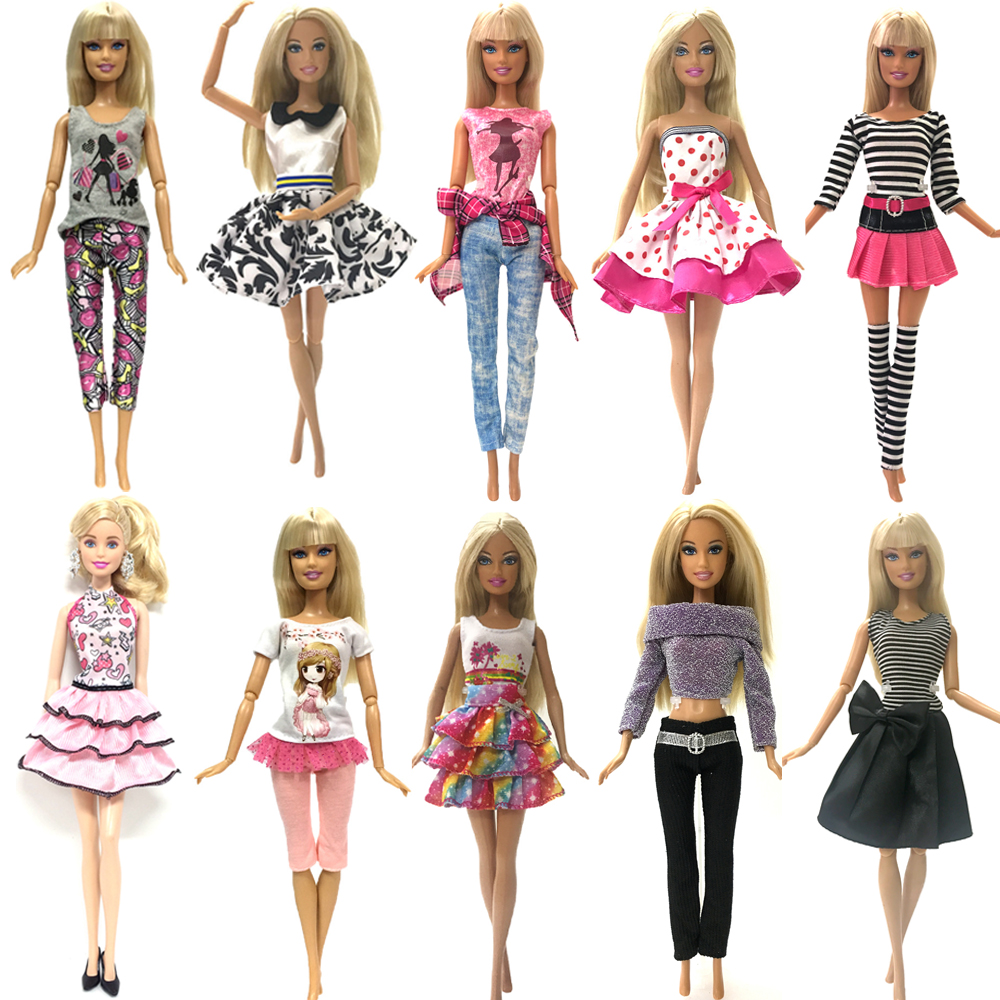 NK Hot Sale Mix Style Doll Dress Top Fashion Outfit  Beautiful Handmade Skirt Party Gown For Barbie Doll Accessories DIY Toys JJ
