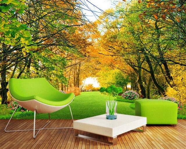 Dekorative Bilder Wohnzimmer ~ Beibehang herbst wald trail hintergrundbild dekorative wand