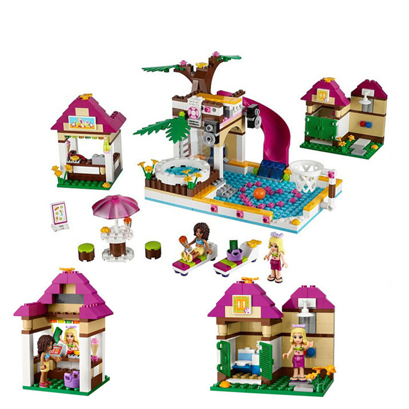 10160 Friends Heartlake City Pool Building Blocks Toy Girl Game House Toys For Children Compatible with Lepin 2017 hot sale girls city dream house building brick blocks sets gift toys for children compatible with lepine friends