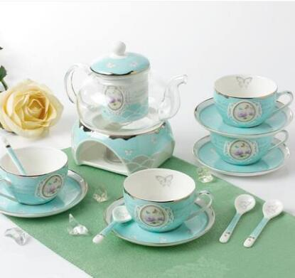Tea set with ceramic coffee cup set cup glass teapot candle home gift free shipping