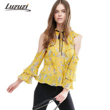 ec795ca1101418 Women Chiffon Blouse Off-shoulder Cold shoulder Frill Sleeve Ruffles Office  Lady Floral Print Vintage Pullover Shirts Tops 4U024