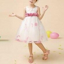 1 Шт. Красивый Белый Кружевной Розовый Театрализованное Платье Принцессы для Девочек Свадьба Девушки Цветка Платье для 3-11 Девочка Дети