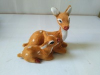 Mother Baby Sika Deer Model Polyethylene Faux Furs Deers Handicraft Figurines Prop Home Decoration Toy Gift